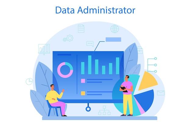 Database beheerder concept. Premium Vector