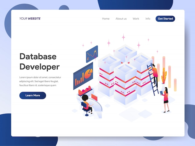 Database developer banner van bestemmingspagina Premium Vector