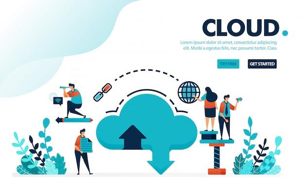 Database en cloud, downloaden en uploaden via internet naar cloud hosting systeem en opslag verhuurdiensten. Premium Vector