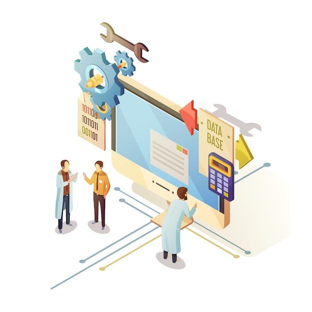 Database isometrisch ontwerp met personeel en computerapparatuur Gratis Vector