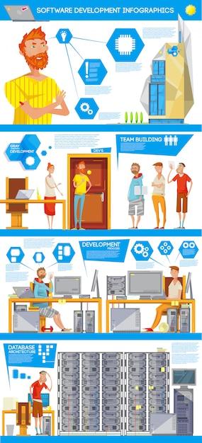 Database software ontwikkeling infographics Gratis Vector