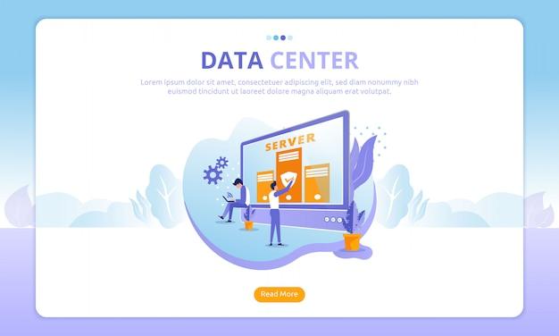 Datacenter bestemmingspagina Premium Vector