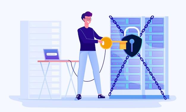 Datacenter beveiliging en bescherming illustratie Premium Vector
