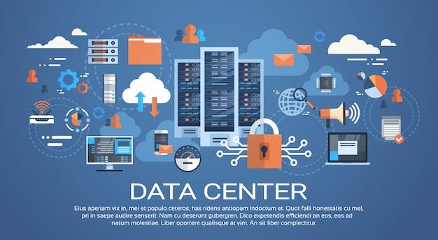 Datacenter cloudcomputerverbinding hosting server database synchroniseer technologie Premium Vector