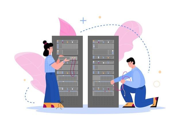 Datacenter hosting servers en personeel. computertechnologie van en databaseopslagcentrumapparatuur, Premium Vector