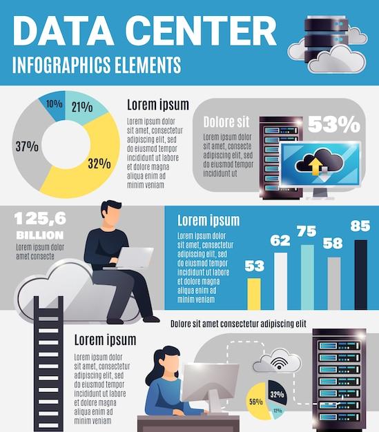 Datacenter infographics Gratis Vector