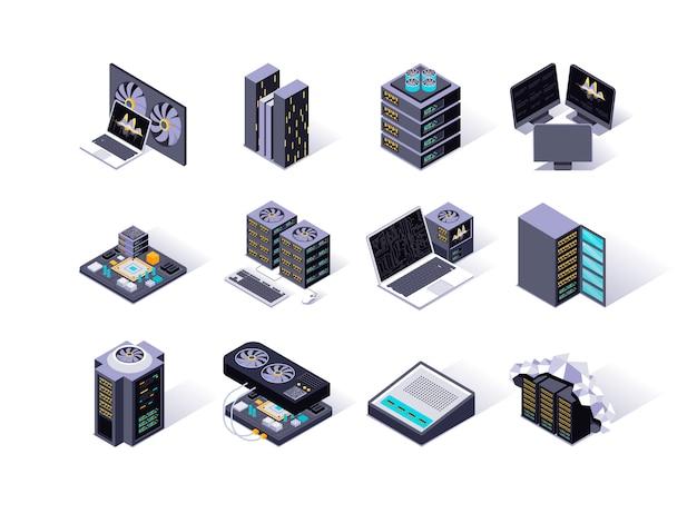 Datacenter isometrische pictogrammen instellen. Premium Vector
