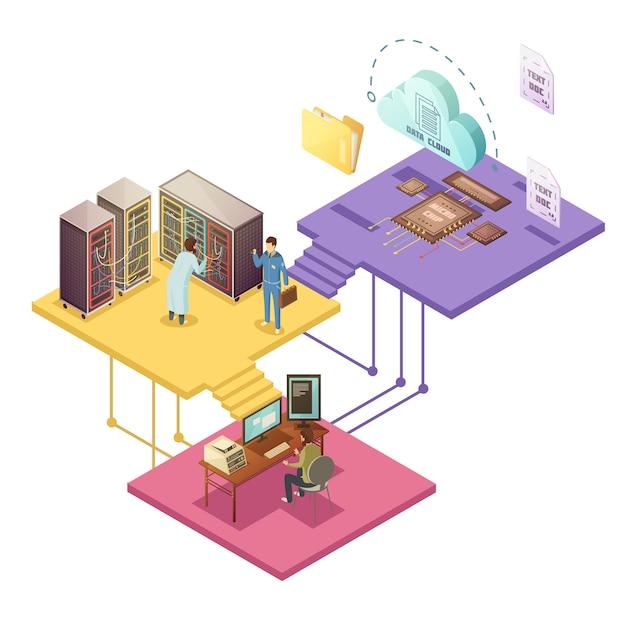 Datacenter met werknemers en beveiligingsservice serverinfrastructuur cloudopslagmap voor microchips Gratis Vector