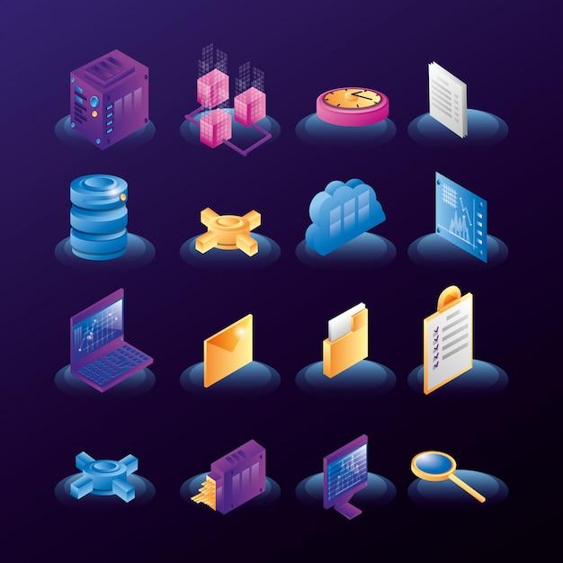 Datacenter netwerkpictogrammen Premium Vector