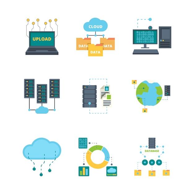 Datacenter pictogram. cloud technologie beveiliging beheer databases computernetwerken vector platte symbolen collectie. illustratie data cloud server, opslag netwerkdatabase Premium Vector