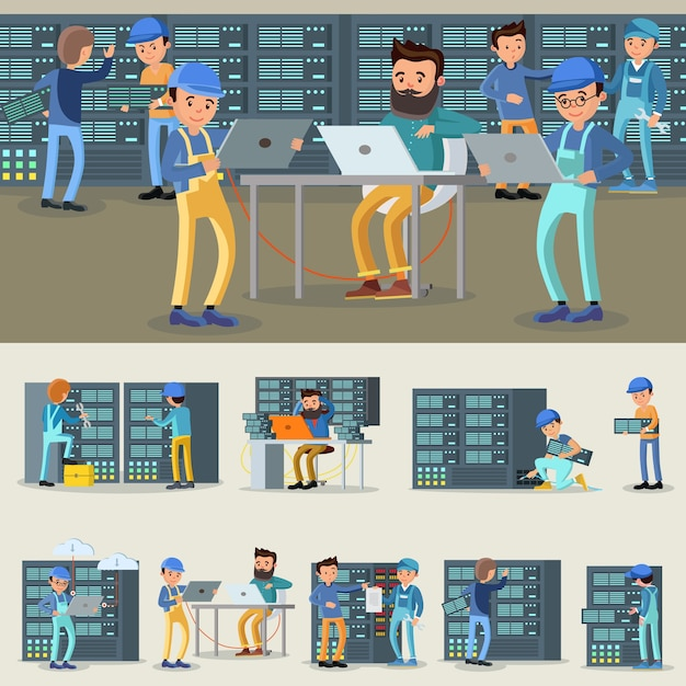 Datacenter professional workers collection Gratis Vector