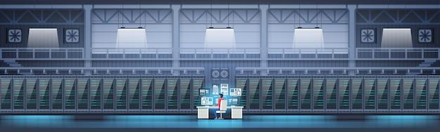 Datacenter room hosting server computer monitoring informatie database Premium Vector