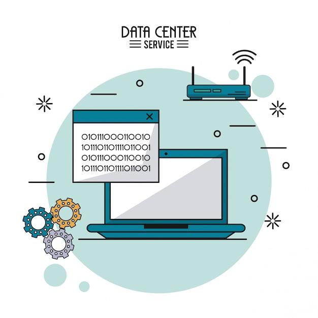 Datacenter service met laptop met binair venster en draadloze router Premium Vector