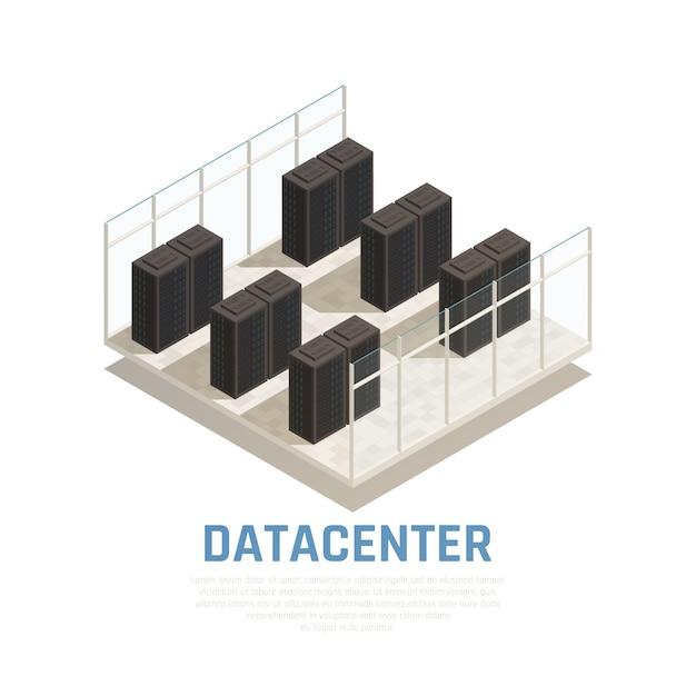 Datacenterconcept met serverdatabase en isometrische gegevensverwerking Gratis Vector