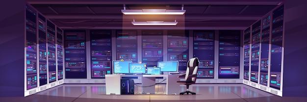 Datacenterruimte met serverhardware Gratis Vector