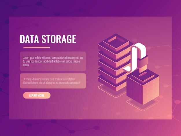 Dataconnectie en transmissie isometrisch concept, serverruimte, databasetoegang Gratis Vector