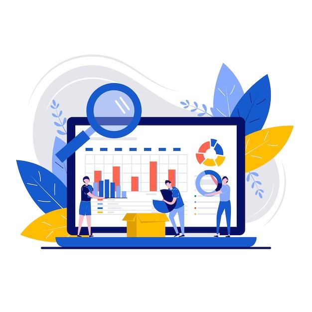 Datamanagementconcept met karakter. workflow organisatie en optimalisatie. Premium Vector