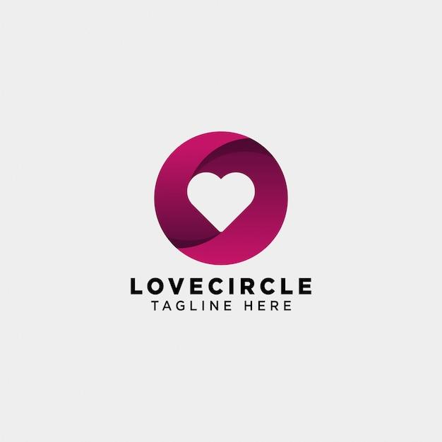 Daterend liefde cirkel gradiënt logo vector pictogram geïsoleerd Premium Vector