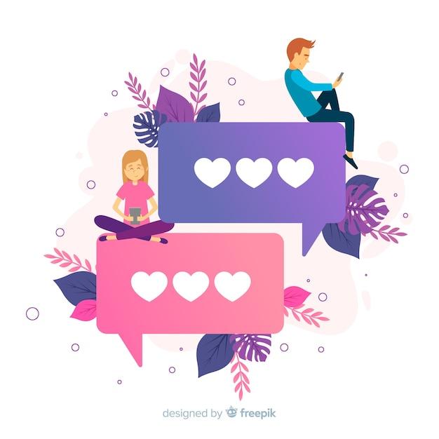 Dating app concept met hartemoji's Gratis Vector