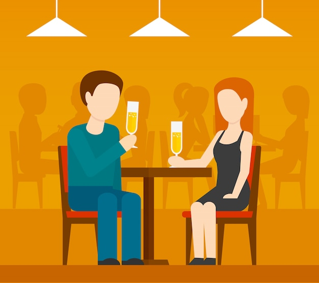 Datum in restaurant Premium Vector