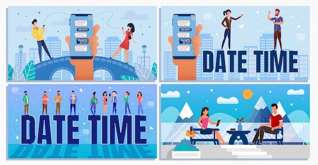 Datum tijd voor zakelijke en informele situatie ingesteld Premium Vector