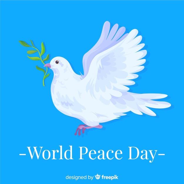 De aankondigende duif op internationale vredesdag Gratis Vector