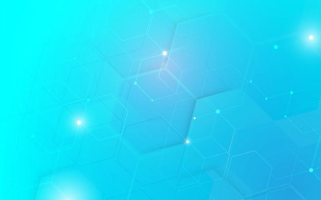 De abstracte achtergrond van het de zeshoekenconcept van technologie digitale hallo technologie. Premium Vector