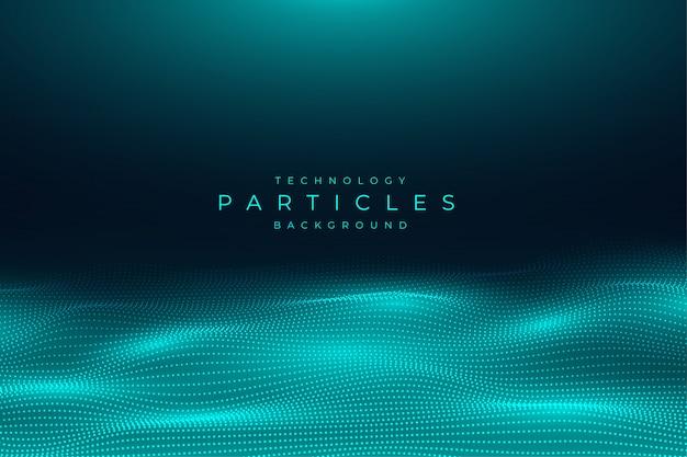 De abstracte blauwe achtergrond van technologiedeeltjes Premium Vector
