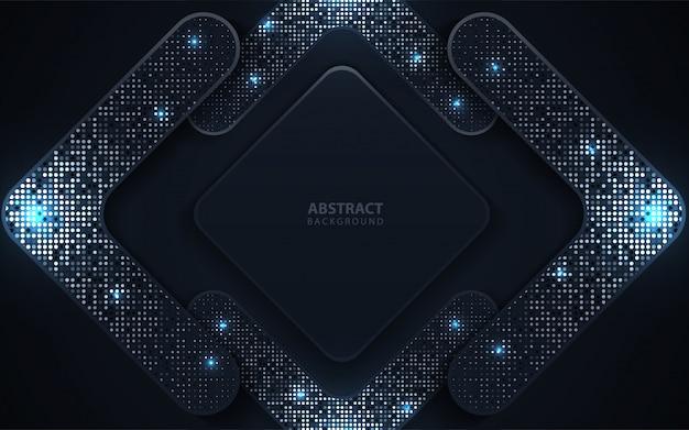 De abstracte donkerblauwe document overlappingsachtergrond met schittert decoratie Premium Vector