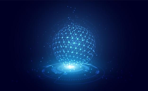 De abstracte driehoek van de technologielijn en lage poly van de puntenzakenman houden de telefoon in de hand veelhoekige toekomstige moderne draadframe op hallo technologie toekomstige blauwe achtergrond. voor sjabloon, webdesign of presentatie. Premium Vector