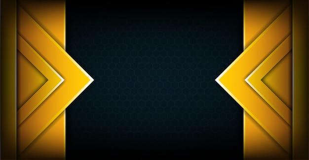 De abstracte gele donkere achtergrond van overlappingslagen Premium Vector
