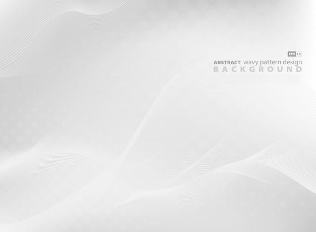 De abstracte grijze golvende achtergrond van het patroonontwerp van moderne technologie. Premium Vector