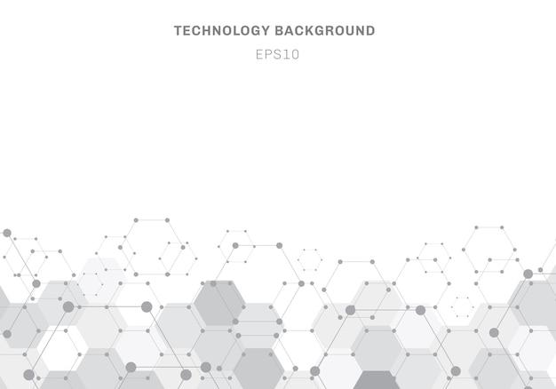 De abstracte grijze molecule van het zeshoekenpatroon op witte achtergrond Premium Vector