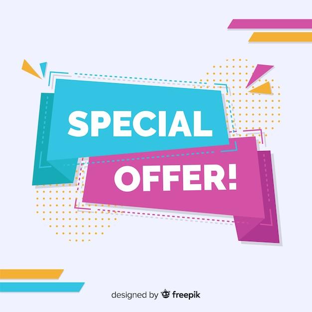 De abstracte kleurrijke banner van de speciale aanbiedingverkoop Gratis Vector