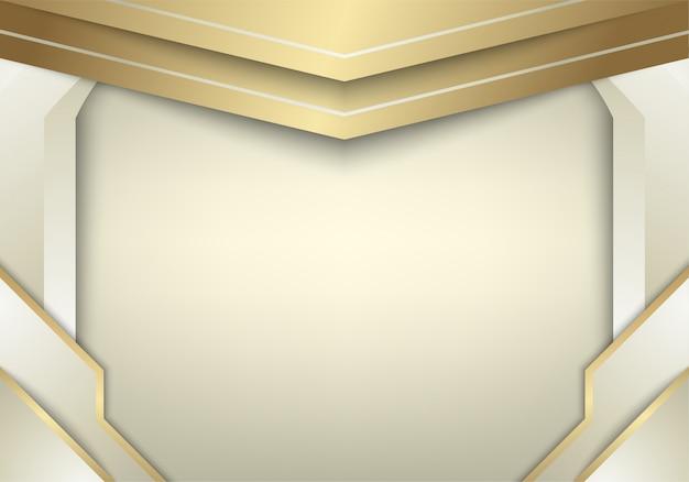 De abstracte witgoudachtergrond combineert met lichteffect. Premium Vector