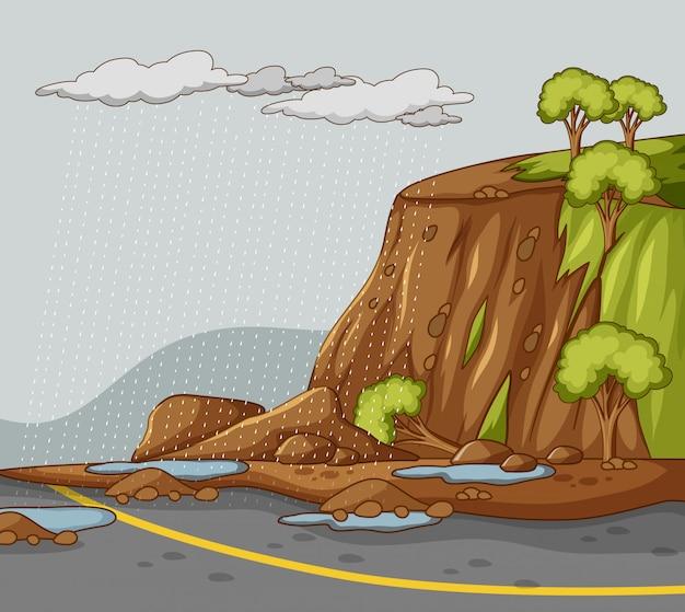 De achtergrond van de aardscène met modderdia's en regen Gratis Vector