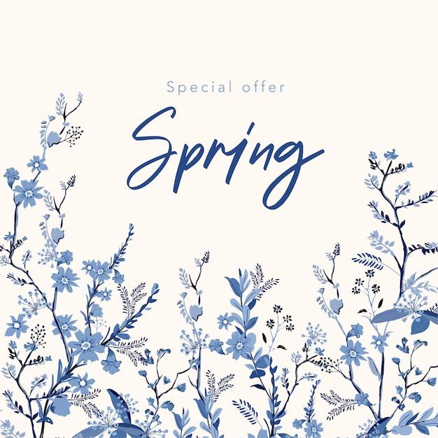 De achtergrond van de de lentebanner met mooie hand getrokken monotone blauwe bloemenillustratie Premium Vector