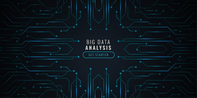 De achtergrond van de gegevensanalysetechnologie met cirkeldiagram Gratis Vector