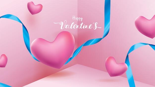De achtergrond van de gelukkige valentijnskaart Premium Vector