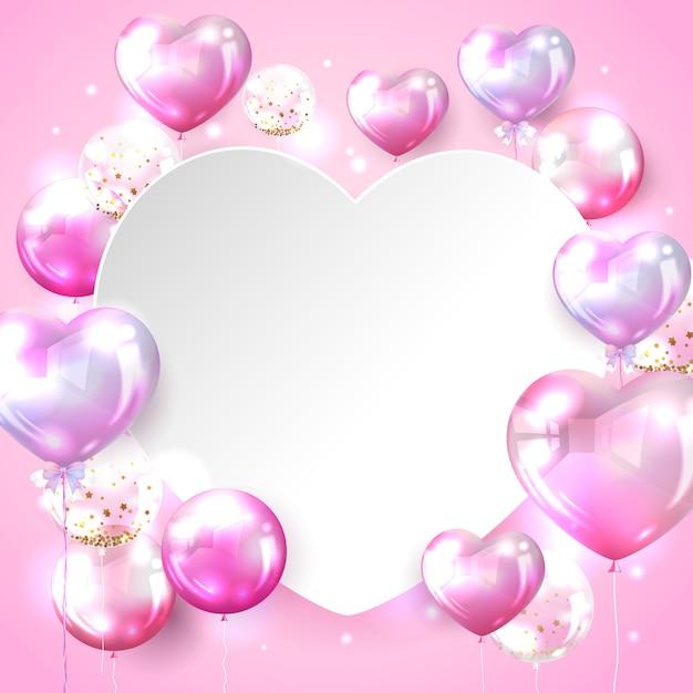De achtergrond van de hartballon in roze kleur voor het ontwerp van de valentijnskaartkaart Gratis Vector