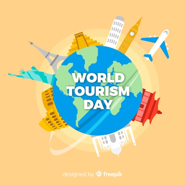 De achtergrond van de toerismedag met wereld en monumenten in vlak ontwerp Gratis Vector