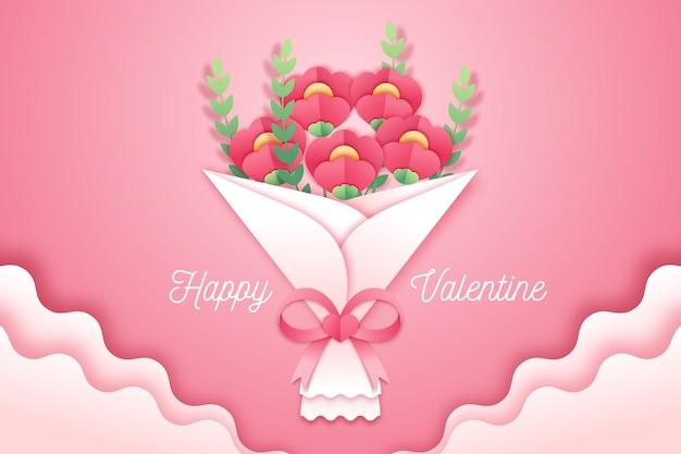 De achtergrond van de valentijnskaartendag in document stijl Gratis Vector