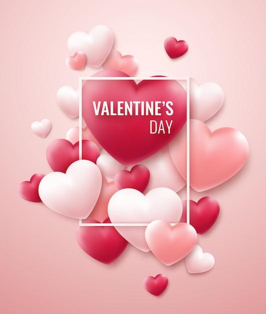 De achtergrond van de valentijnskaartendag met rode, roze harten en kader voor tekst Premium Vector