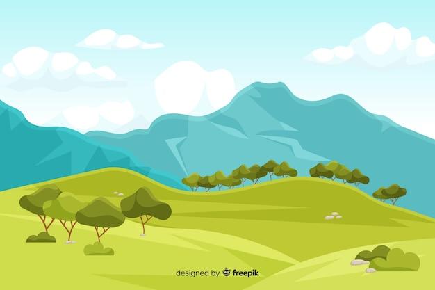 De achtergrond van het bergenlandschap met bomen Gratis Vector