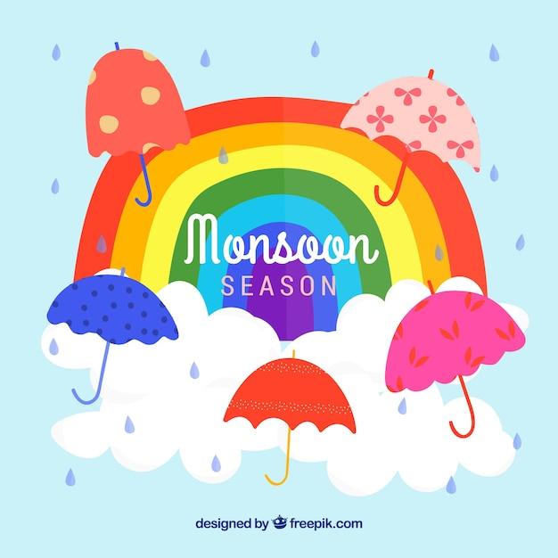 De achtergrond van het moessonseizoen met paraplu's Gratis Vector