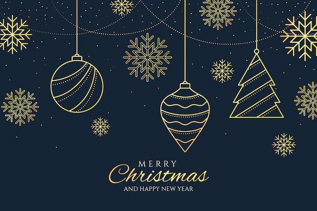 De achtergrond van kerstboomdecoratie in overzichtsstijl Gratis Vector