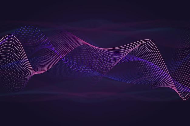 De achtergrond van muziekgeluidsgolven met kleurrijk rookeffect Gratis Vector