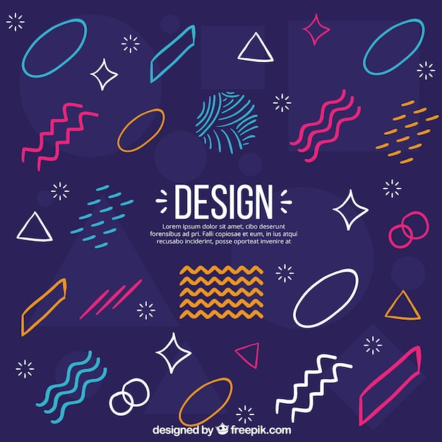 De achtergrond van ontwerpelementen in de stijl van memphis Gratis Vector