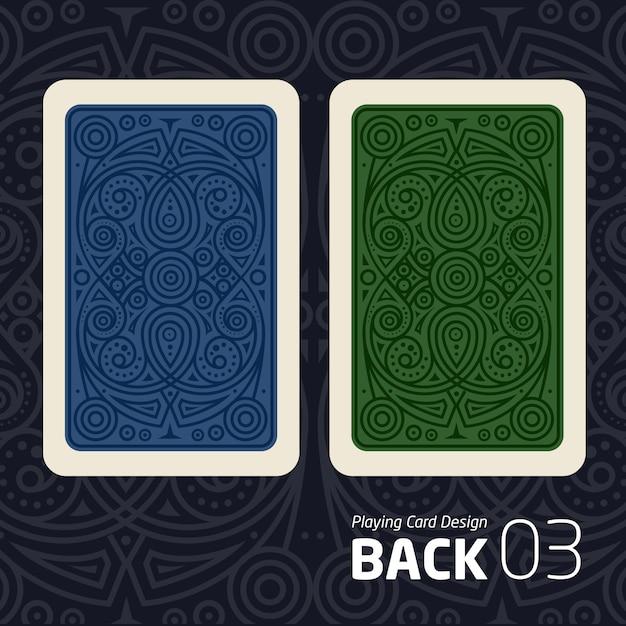 De achterkant van een speelkaart voor blakjak ander spel met een patroon. Premium Vector