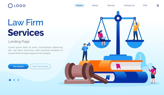 De advocatenkantoor landingspagina website illustratie sjabloon Premium Vector